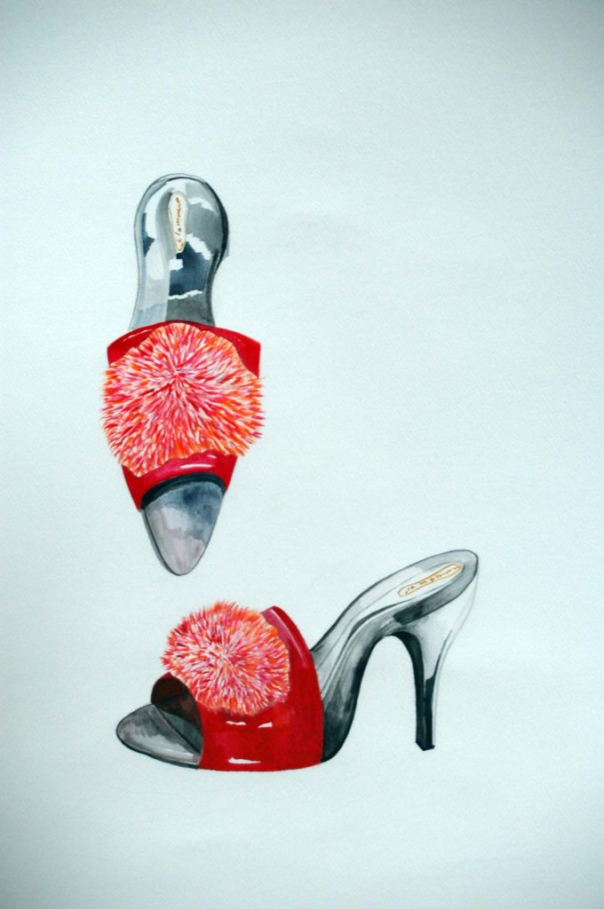 Salaiset sipsuttimet, Secret Slippers, watercolor on paper, 70x50cm, 2007